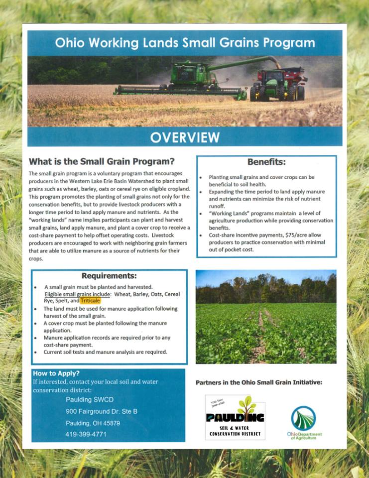 Ohio Working Lands Small Grains Program flyer