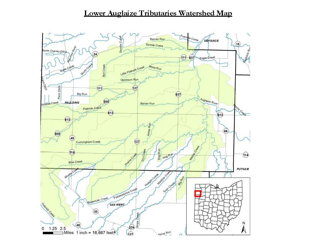 Lower Auglaize Tributaries Watershed Map